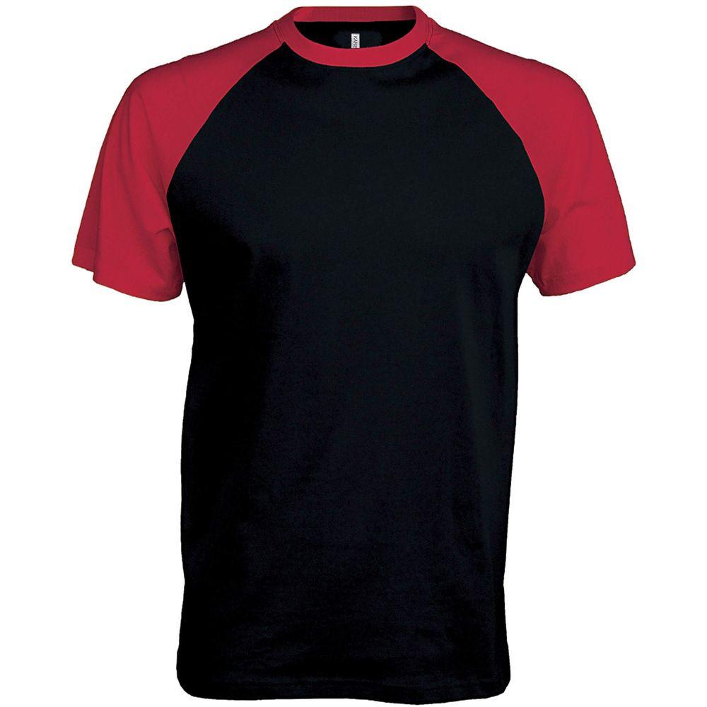 T-shirt bicolore manches courtes Kariban Marine épaule rouge