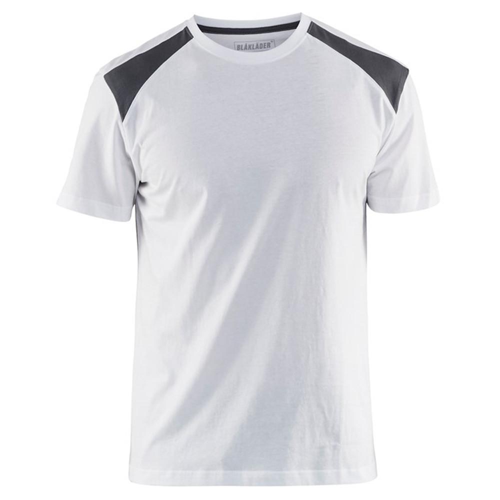 T-shirt Blaklader bicolore - Blanc Epaules Grise