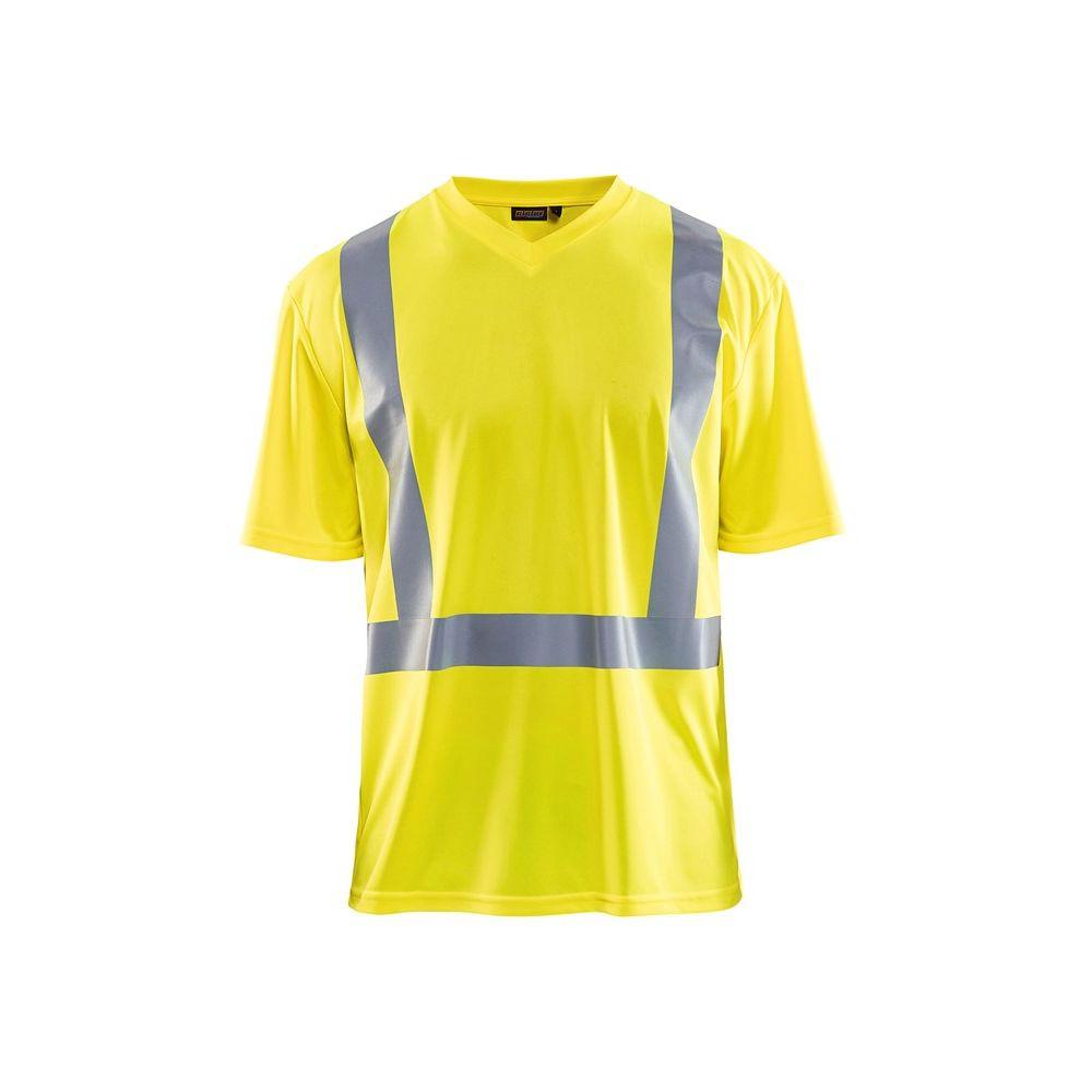 T-shirt haute visibilité anti-uv et odeur Blaklader col v - Jaune