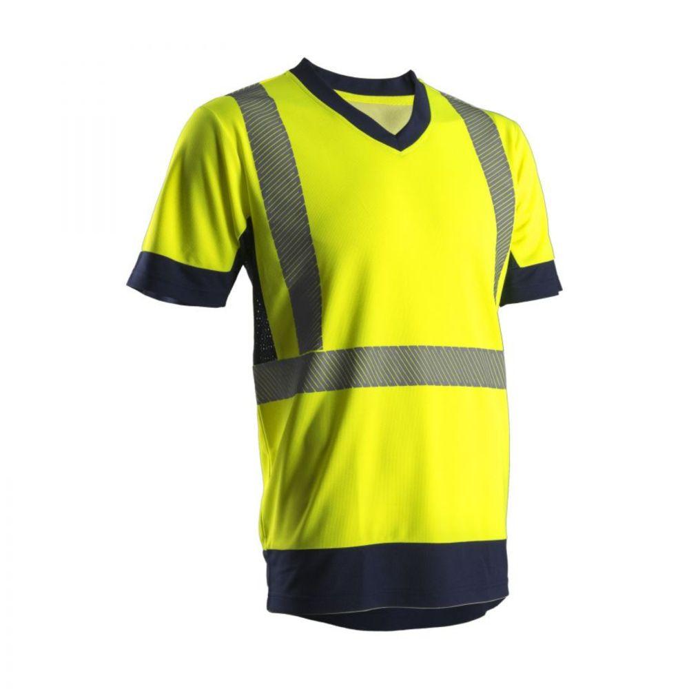 T-shirt haute visibilité manches courtes Coverguard KYRIA 100% polyester - Jaune / Marine