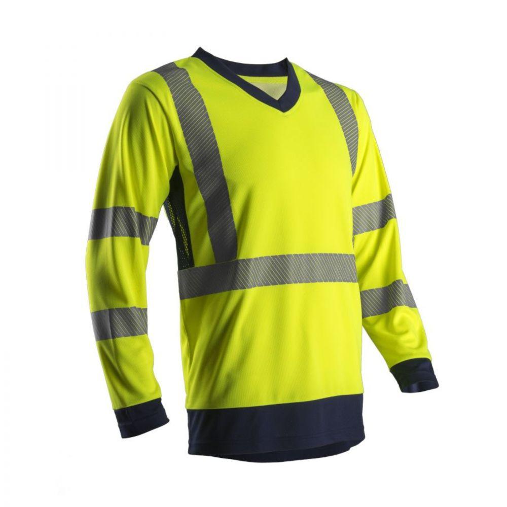 T-shirt manches longues haute visibilité Coverguard SUNO SUNA - Jaune / Marine