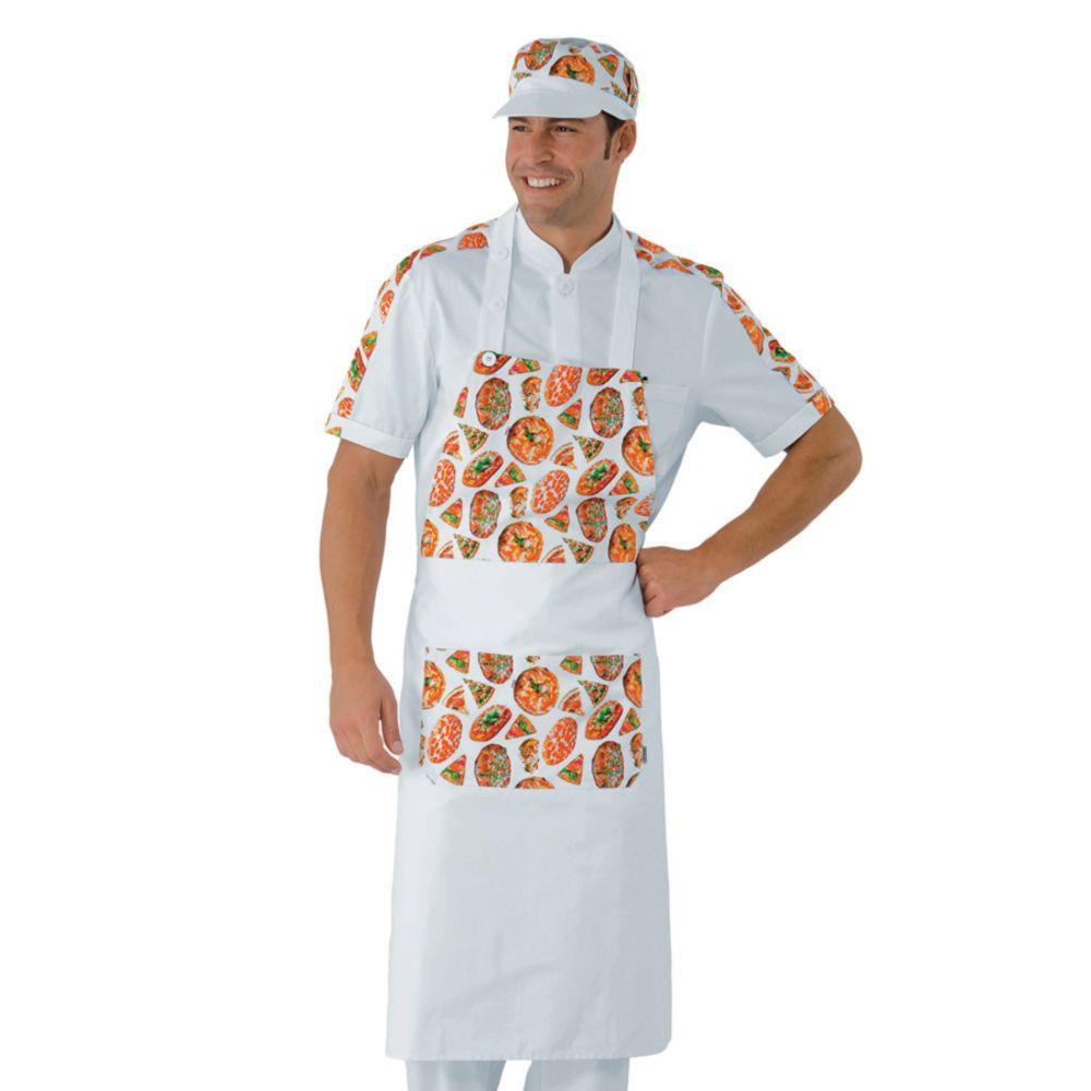 Tablier de cuisine à bavette Pizzaiolo Isacco Daytona Pizza 100% coton - Blanc / Motif Pizza