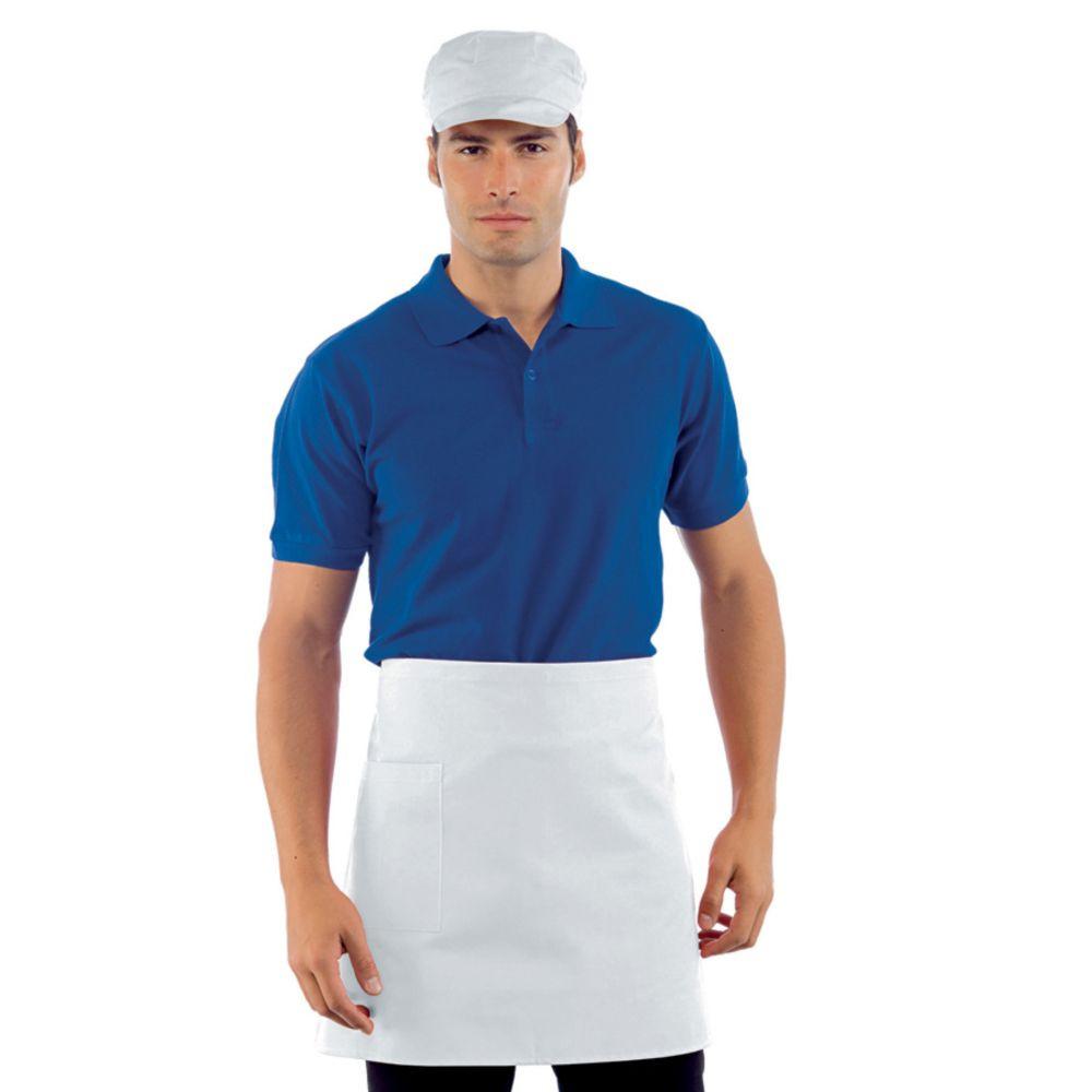 Tablier de cuisine blanc Isacco 100% coton avec poche - Blanc