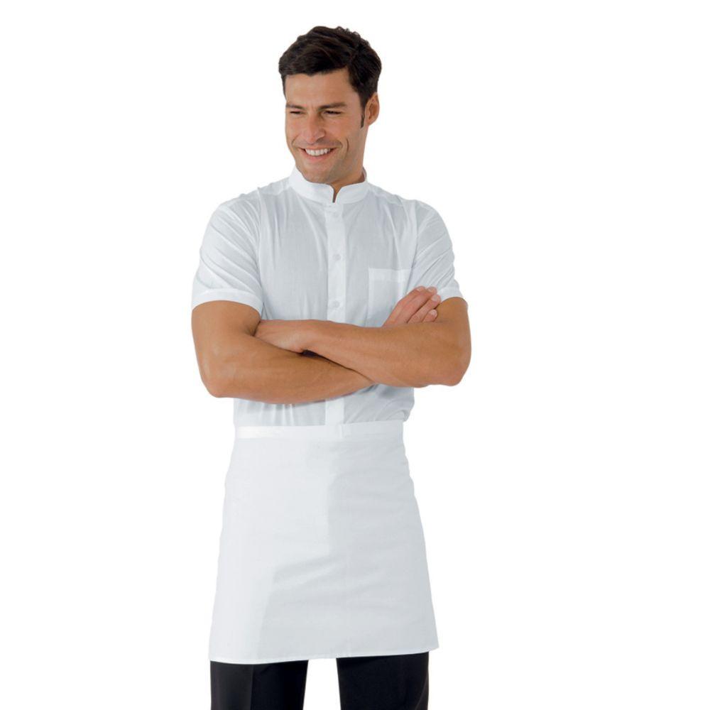 Tablier de cuisine blanc sans poches Isacco 100% coton 70 x 46cm - Blanc