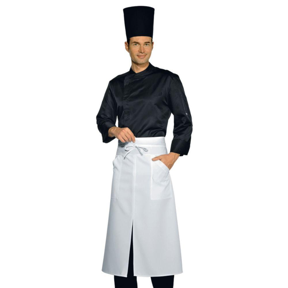 Tablier de cuisine fendu Isacco Versailles à poches blanc 100% coton - Blanc