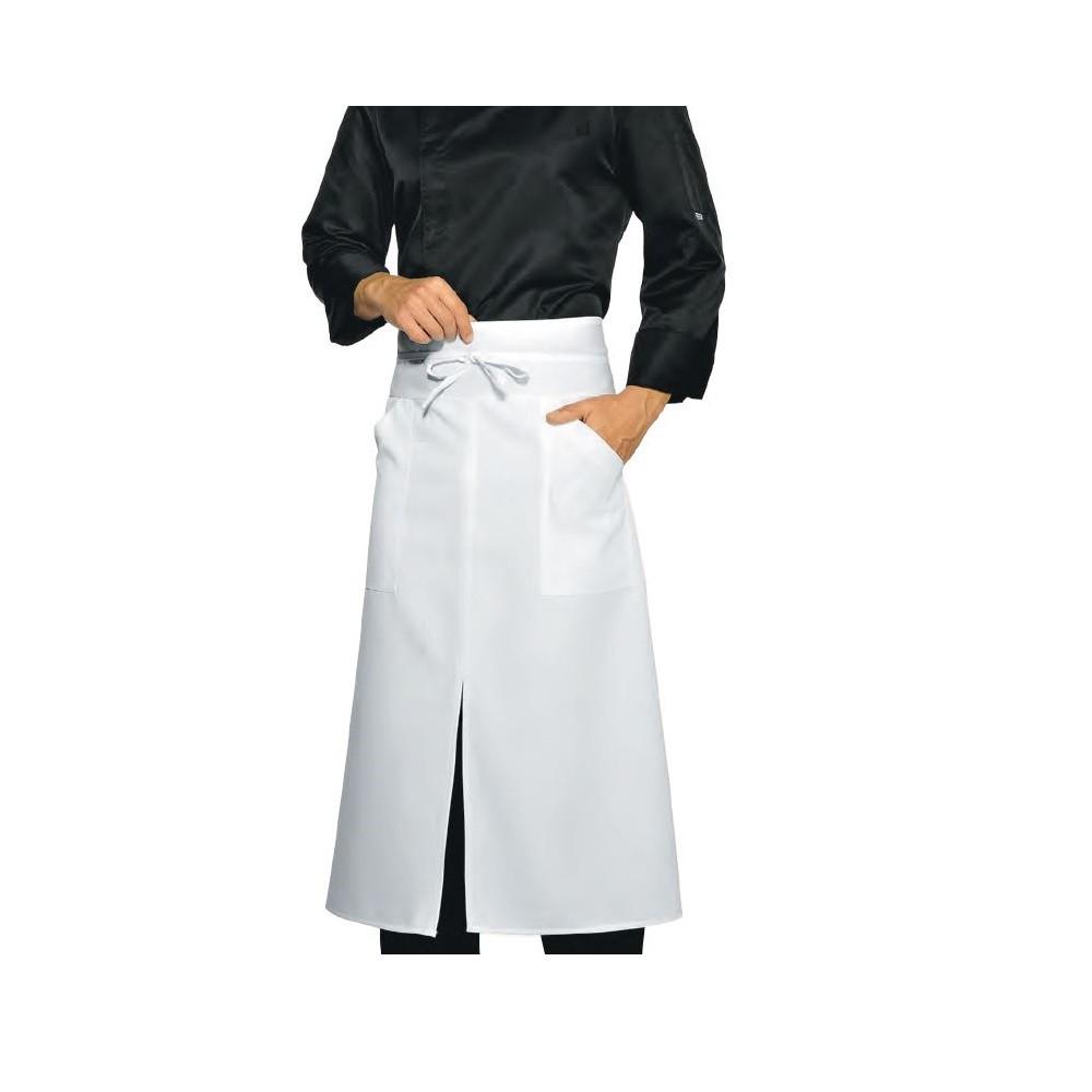 tablier de cuisine fendu isacco versailles poches blanc. Black Bedroom Furniture Sets. Home Design Ideas