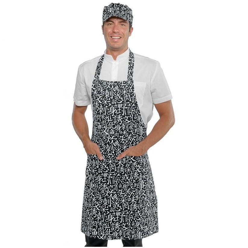 Tablier de cuisine japonais à bavette Isacco Pettorina Sushi noir et blanc - Tablier de cuisine japonais à bavette Isacco Pettorina Sushi noir et rouge