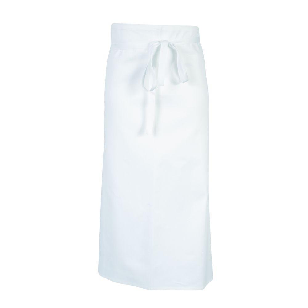 Tablier de cuisine sans poche Robur Porto 100% coton - Blanc