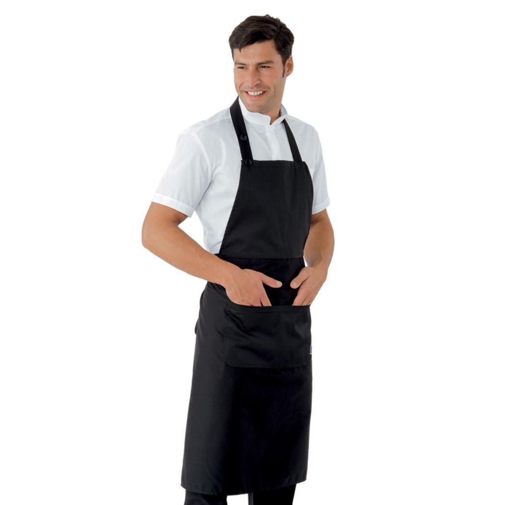 Tablier de cuisine / service noir à bavette Isacco Daytona 95x95cm - Noir