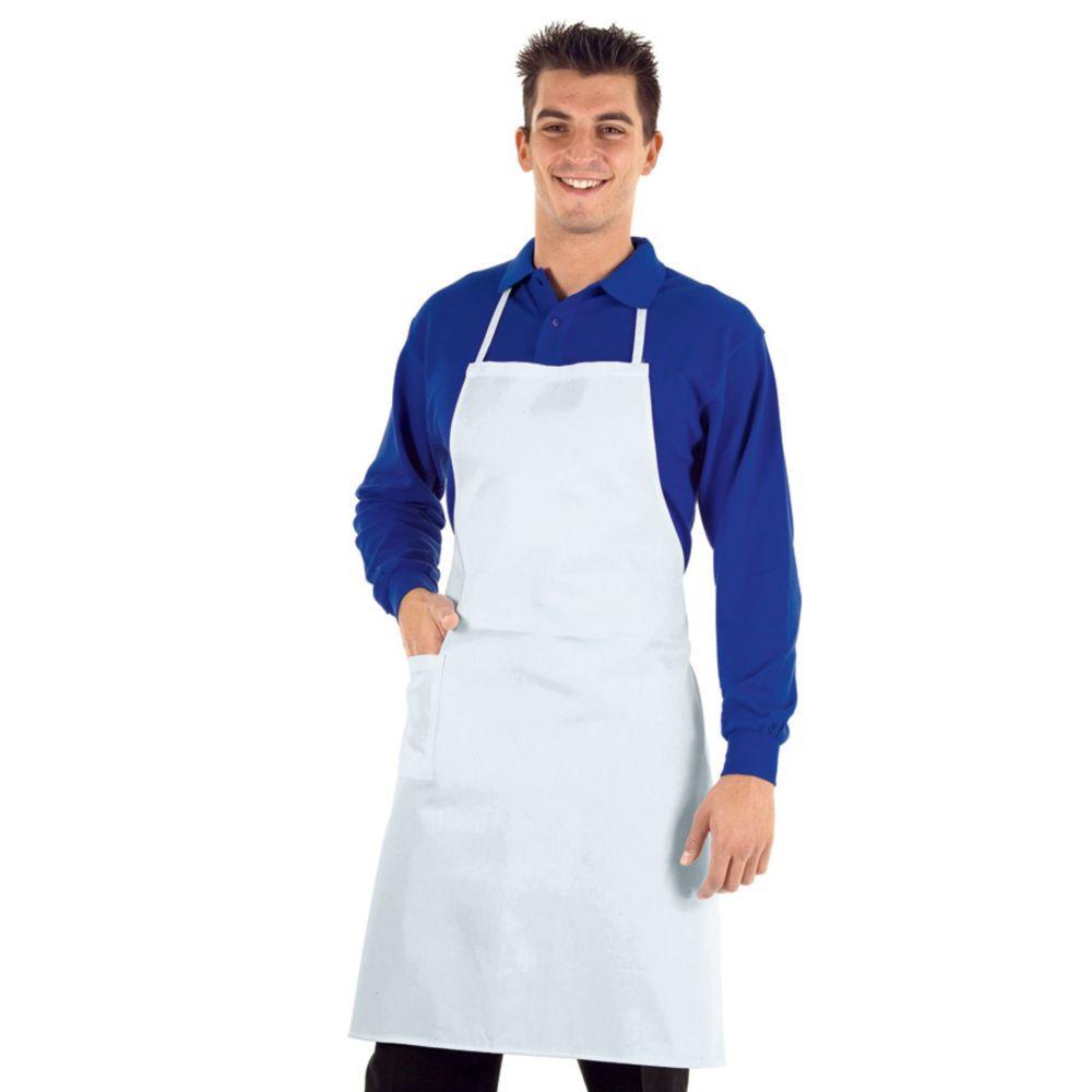 Tablier de cuisine professionnel Isacco 100% coton - Blanc
