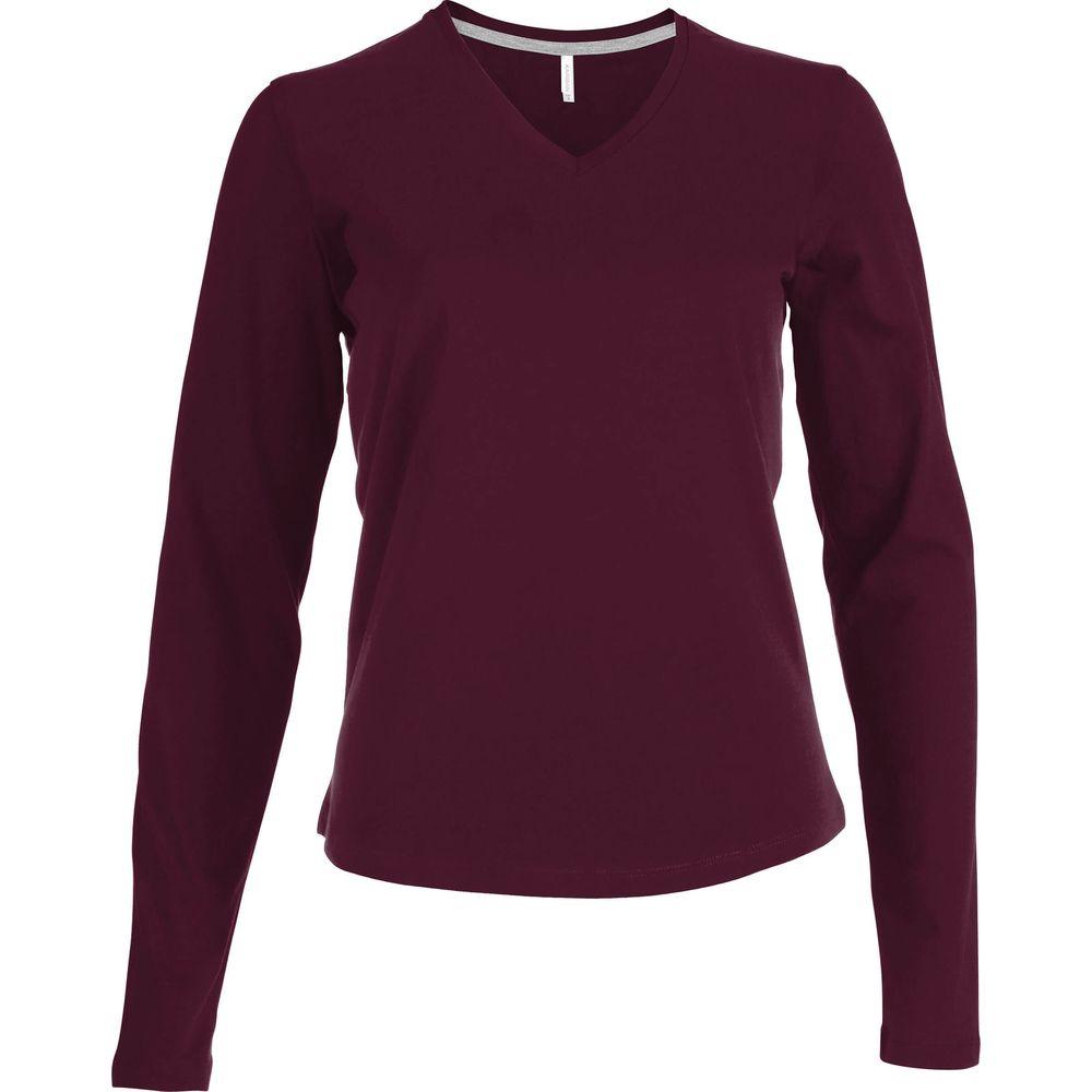 Tee-shirt femme col V manches longues Kariban 100% coton - Tee-shirt de travail col V manches longues Kariban femme 100% coton Bordeaux