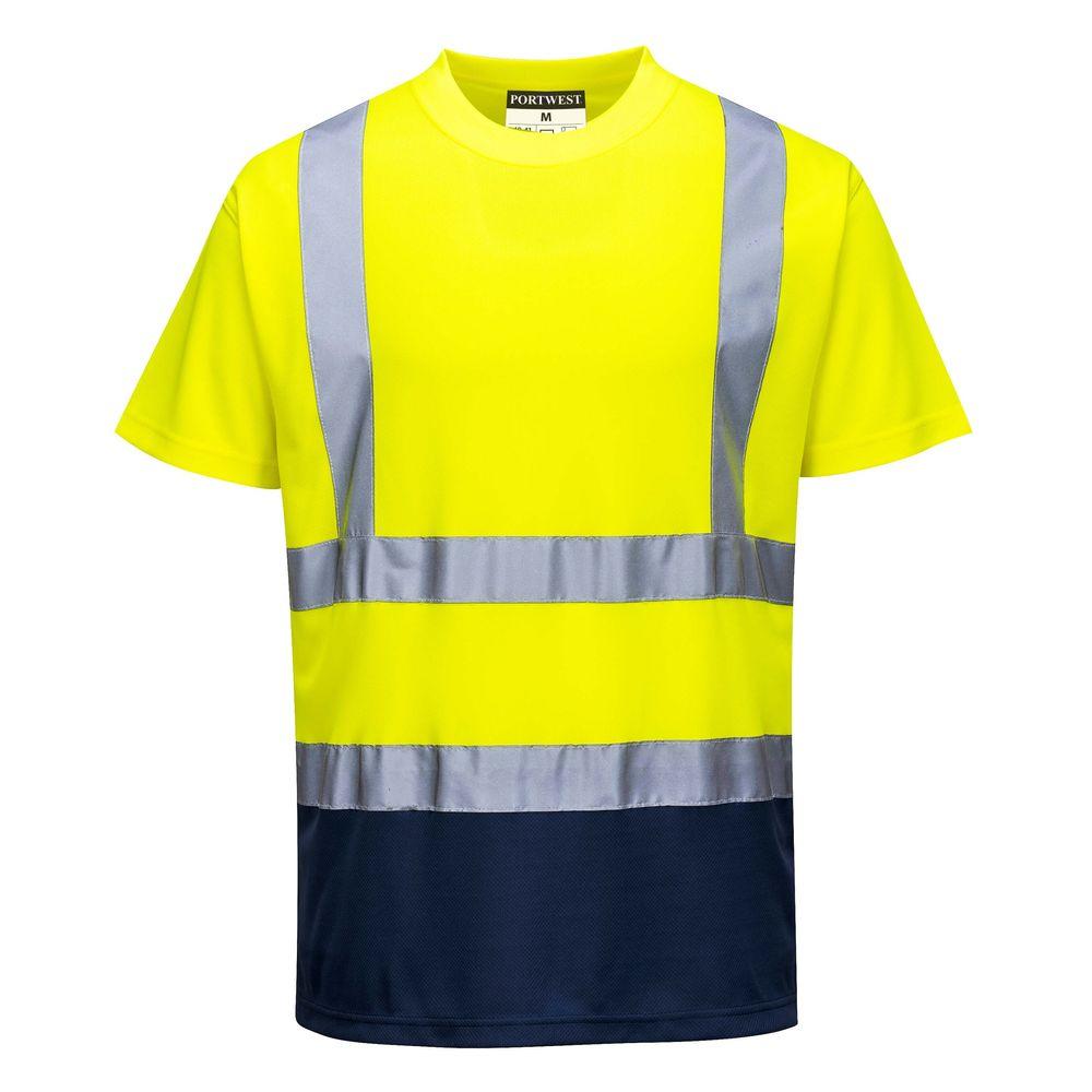 Tee-shirt haute Visibilité Portwest bicolore - Jaune / Marine