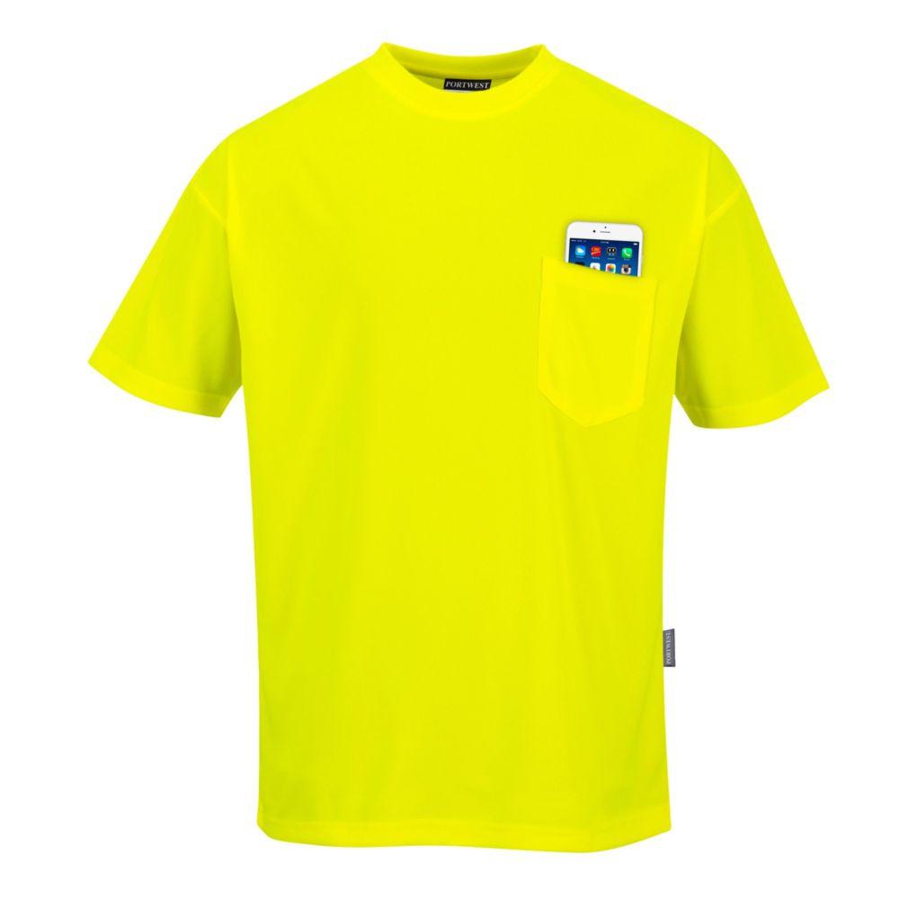 Tee Shirt manches courtes à poche Portwest Day-Vis - Jaune