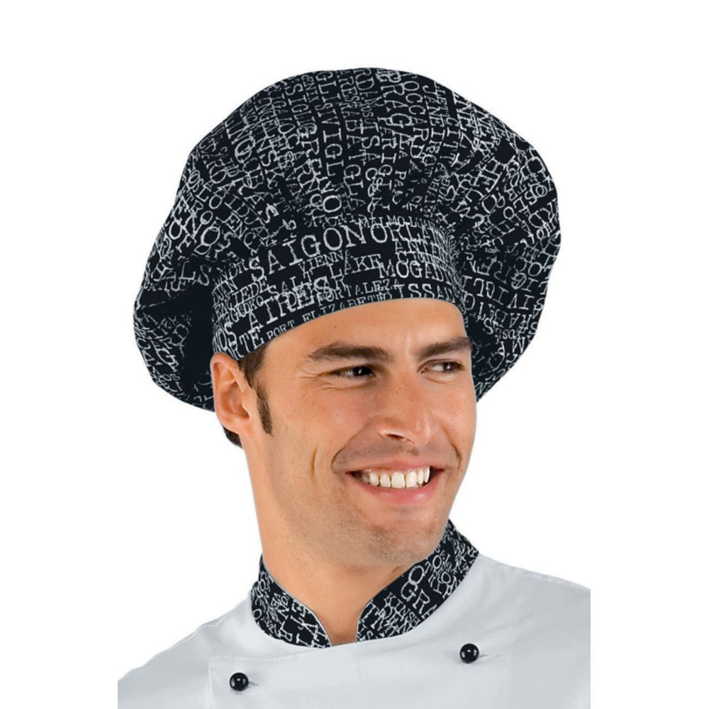 Toque de chef cuisine Isacco San Francisco - Motifs Noir / Blanc