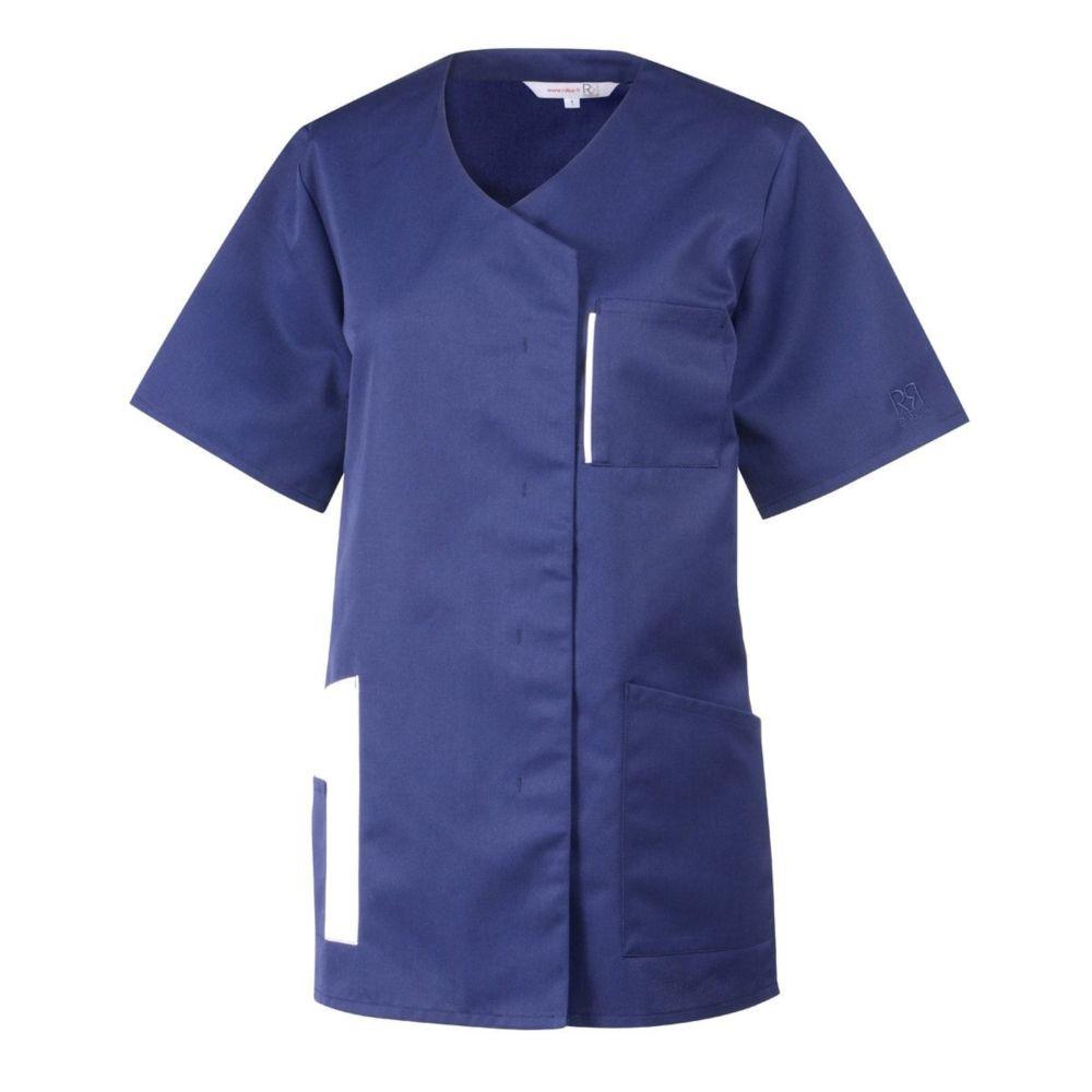 Tunique Médical / Bien Etre manches courtes femme Robur LILA COULEUR - Bleu / Blanc