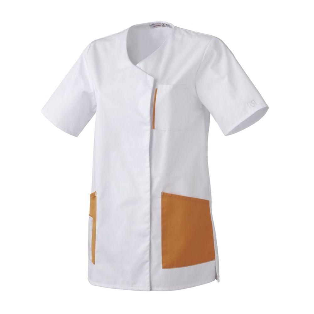 Tunique Médical / Bien Etre manches courtes Femme Robur LILA BLANC - Blanc / Orange