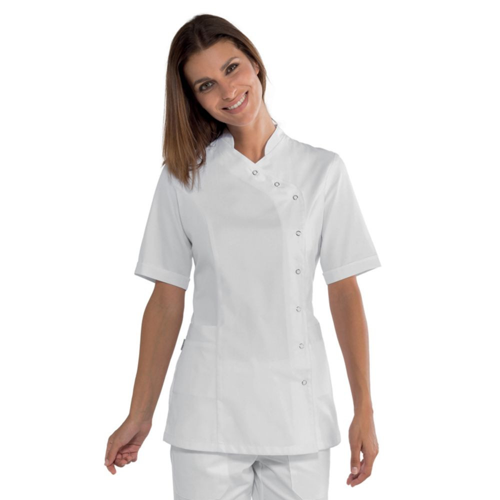 Tunique médicale femme Isacco Nizza blanche manches courtes - Blanc