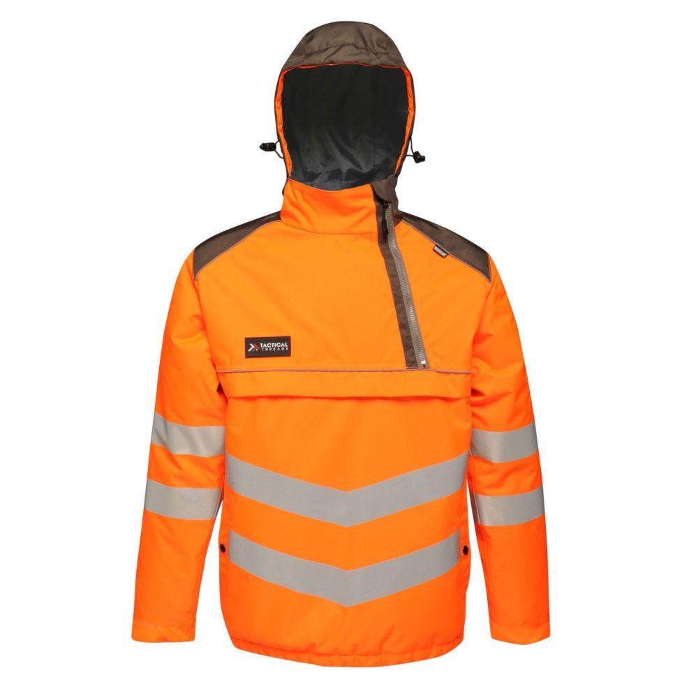 Veste bombardier à capuche haute visibilité Regatta Professional TACTICAL HI-VIS - Orange / gris