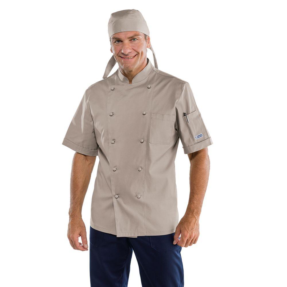 Veste de cuisine Gris Isacco Cuoco Tortora manches courtes - Beige
