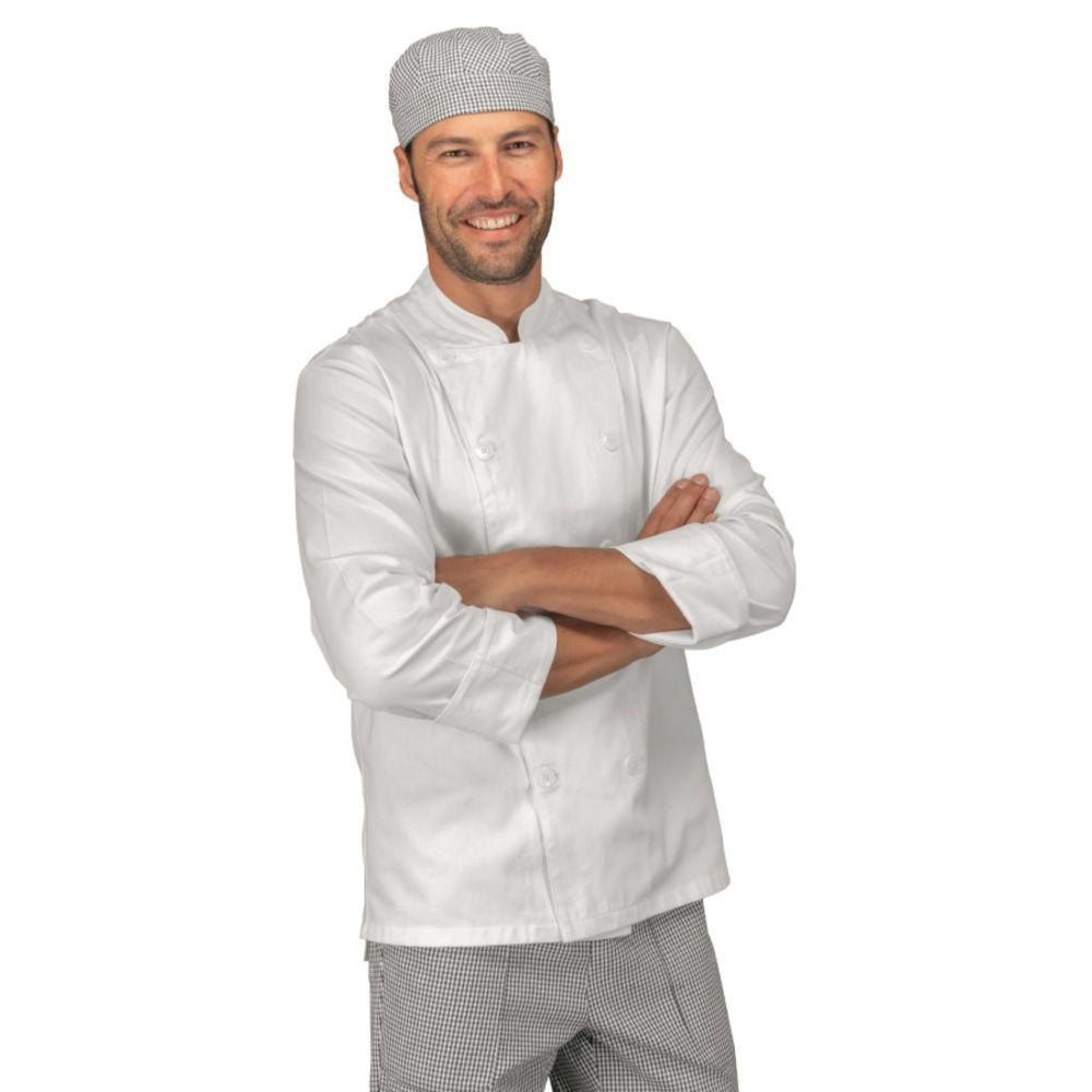 Veste de cuisine Blanche Isacco Boutons cousus 100% coton - Blanc