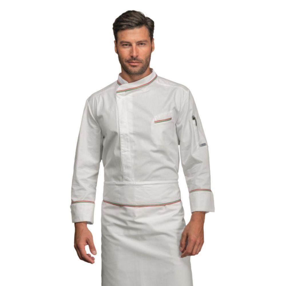 Veste de cuisine Blanche liseré Italie Isacco Bilbao - Blanc