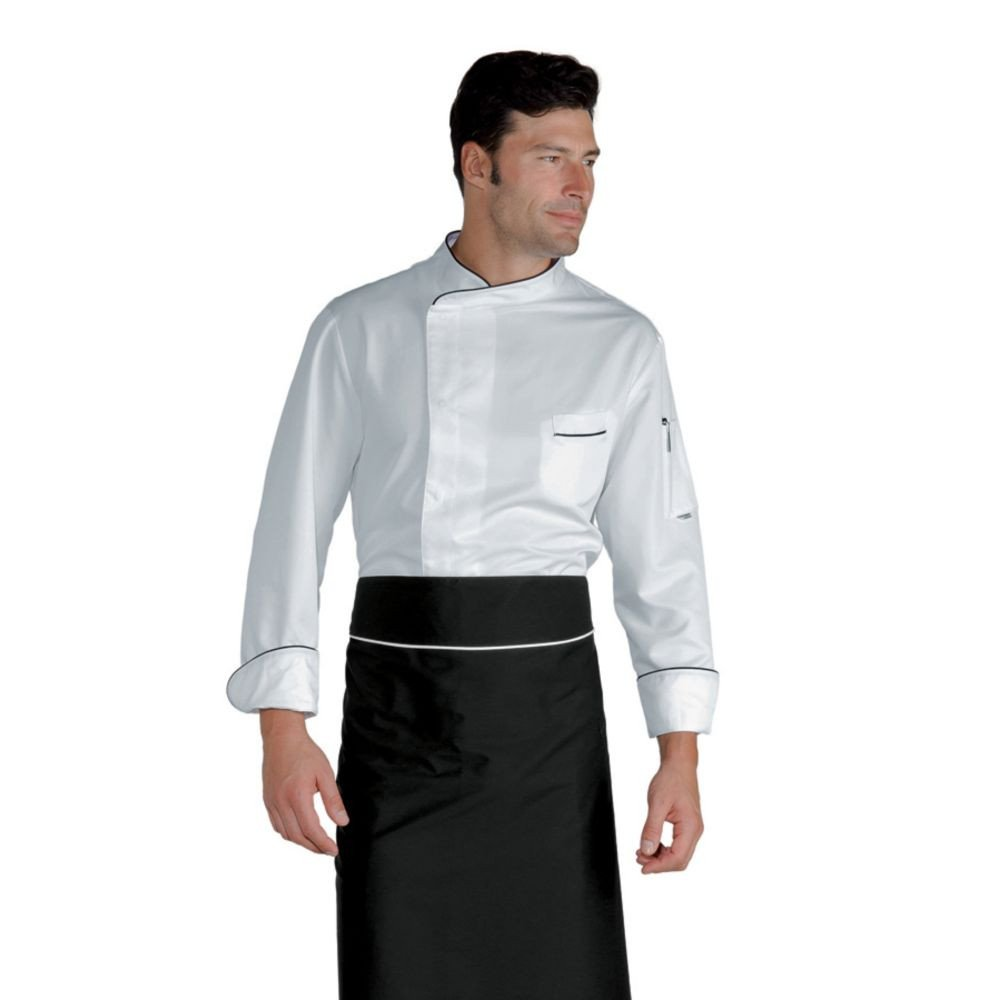 Veste de cuisine Super Dry Blanche détails noir Isacco Bilbao - Blanc / Noir