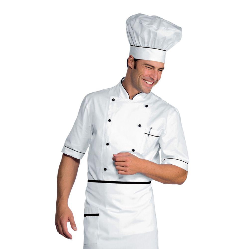 Veste de cuisine blanche liseré noir Isacco Alicante manches courtes - Blanc / Noir