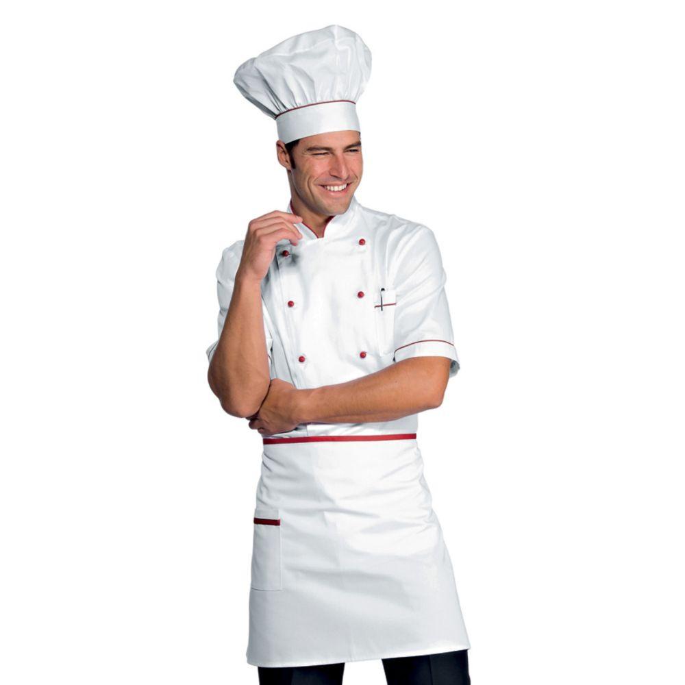 Veste de cuisine blanche liseré rouge Isacco Alicante manches courtes - Blanc / Rouge