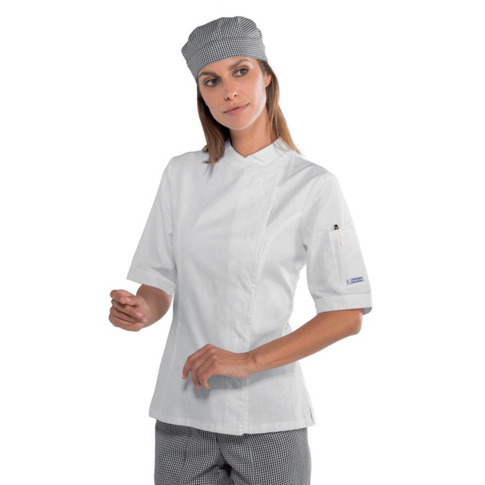 Veste de cuisine blanche femme Isacco manches courtes Lady Snaps - Blanc