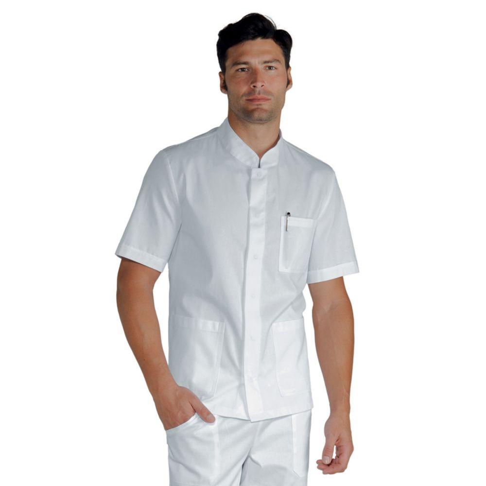 Veste de cuisine Blanche Isacco Corfu manches courtes 100% coton - Blanc