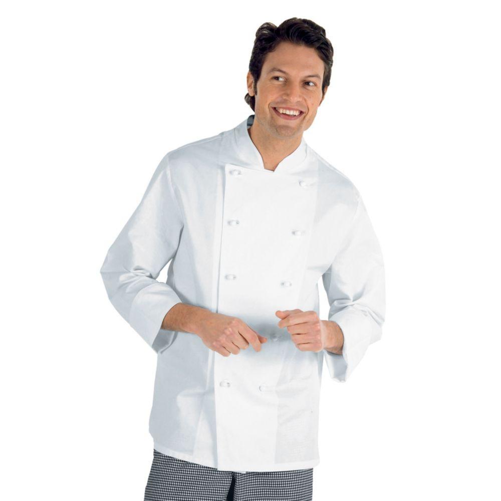 Veste de cuisine blanche Isacco Livorno 100% coton - Blanc