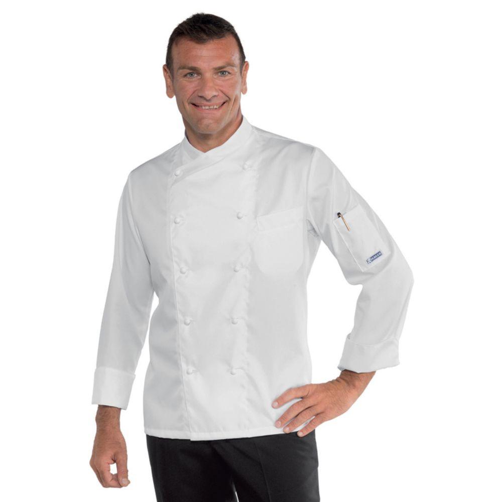 Veste de cuisine Blanche Isacco Panama Slim Polycoton - Blanc