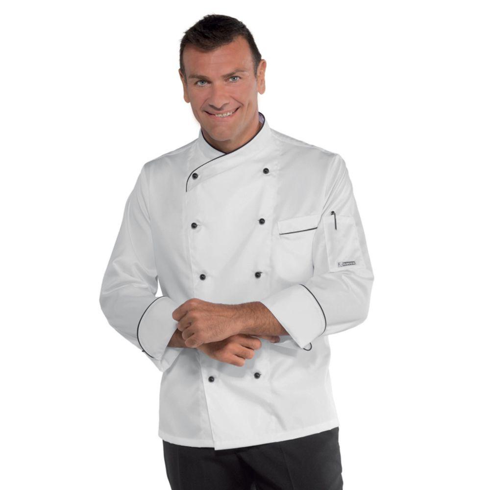 Veste de cuisine Blanche motifs noirs Isacco Panama Slim 100% coton satin - Blanc