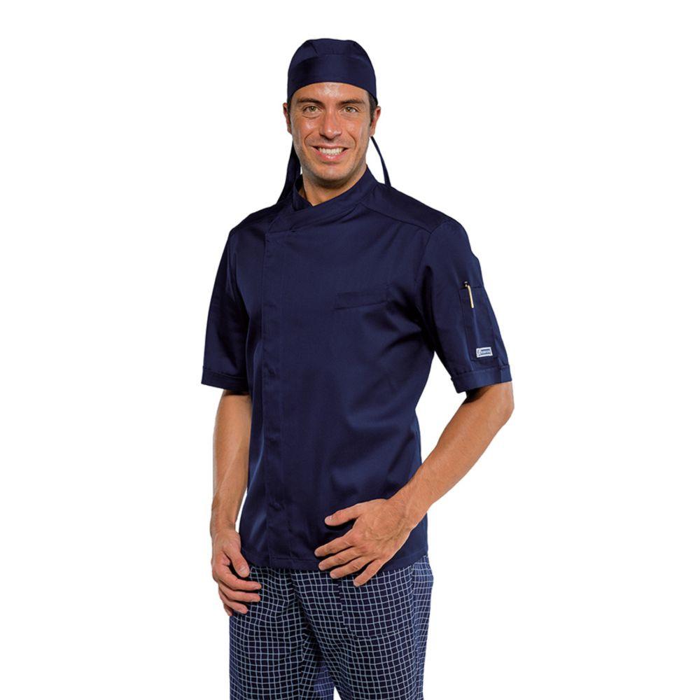 Veste de cuisine Bleu marine Isacco Bilbao Manches courtes - Bleu Foncé