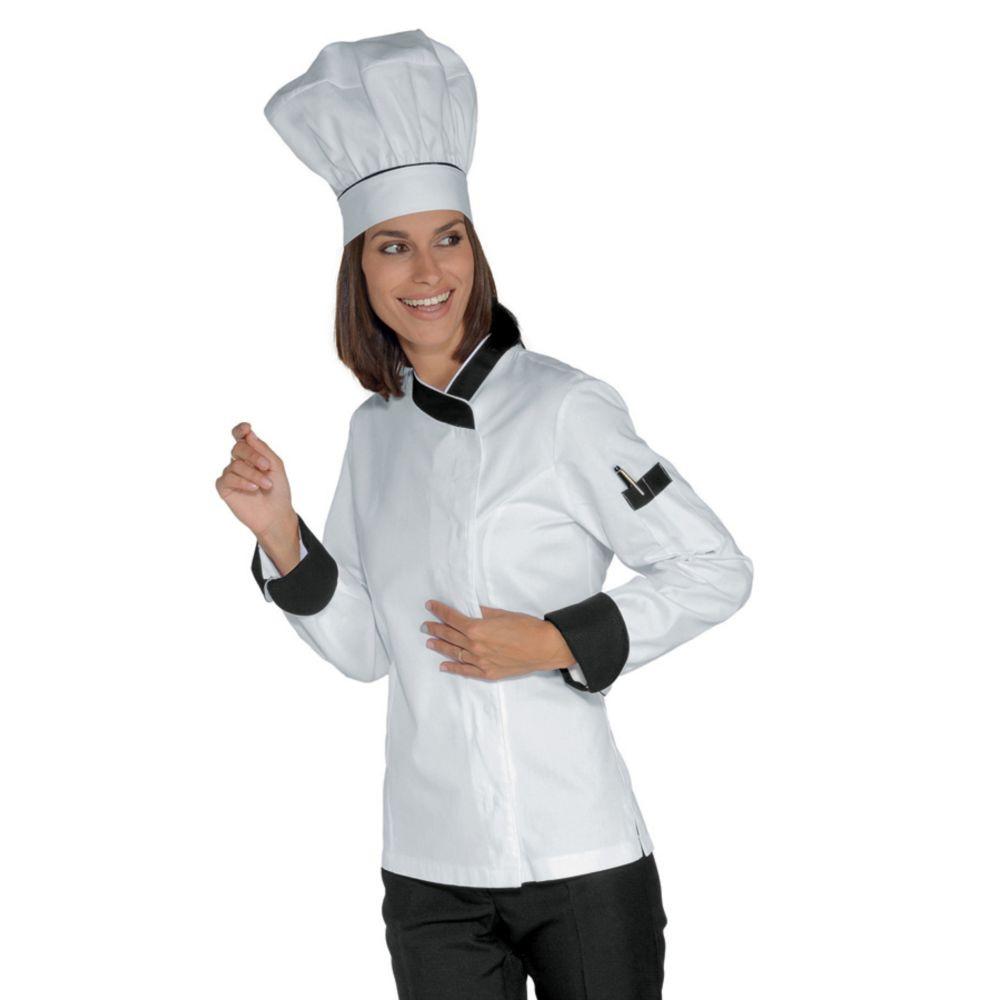 Veste de cuisine femme Isacco blanc col noir - Blanc / Noir