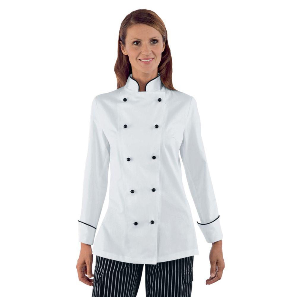 Veste de cuisine femme Isacco Blanc motif Noir Granchef 100% coton - Blanc / Noir