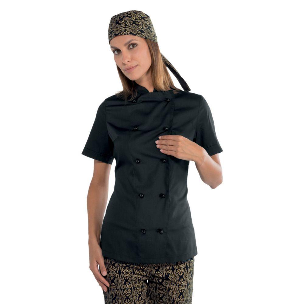 Veste de cuisine femme Isacco Extra Light manches courtes noire - Noir