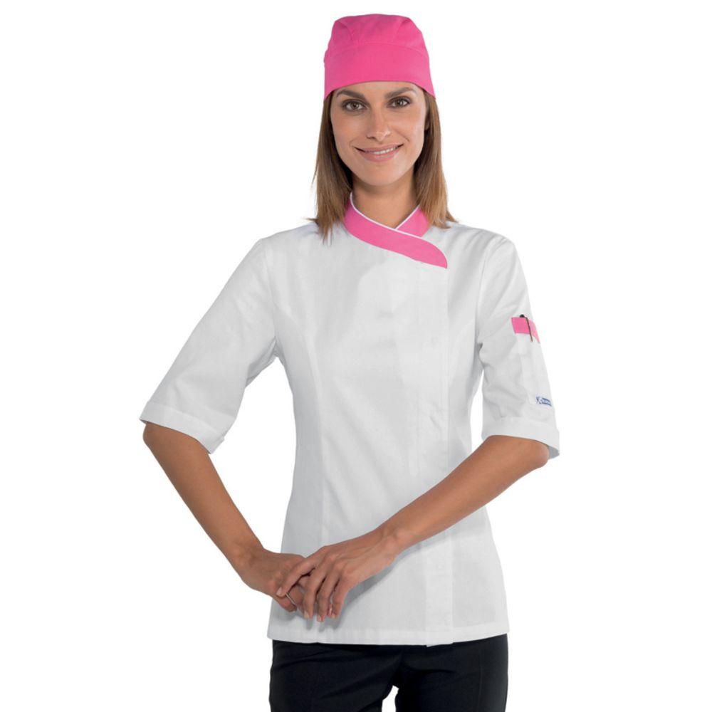 Veste de cuisine femme Isacco Lady Snap Blanc col Rose manches courtes - Blanc / Rose