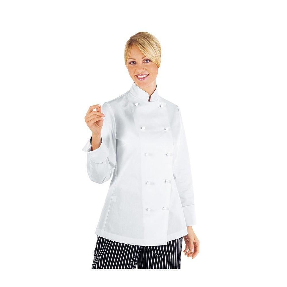 027f69fe6d0b Veste de cuisine femme Isacco manches longues 100% coton