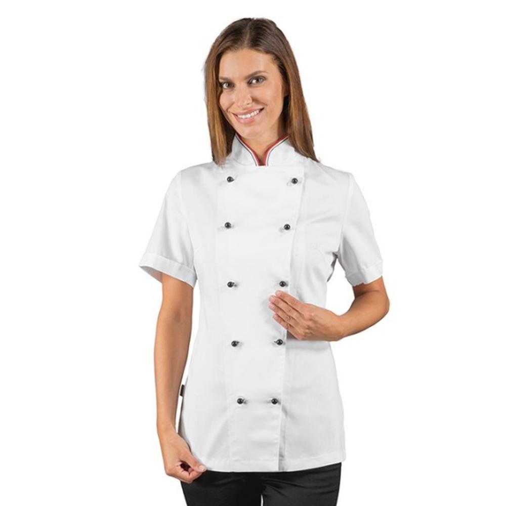 Veste de cuisine femme liseré Italie manches courtes Isacco - Blanc