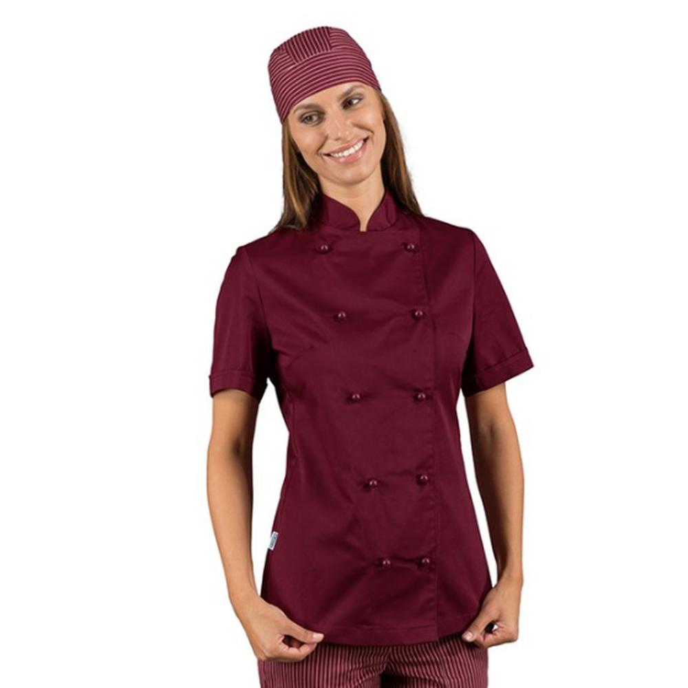Veste de cuisine femme manches courtes Isacco Bordeaux - Bordeaux