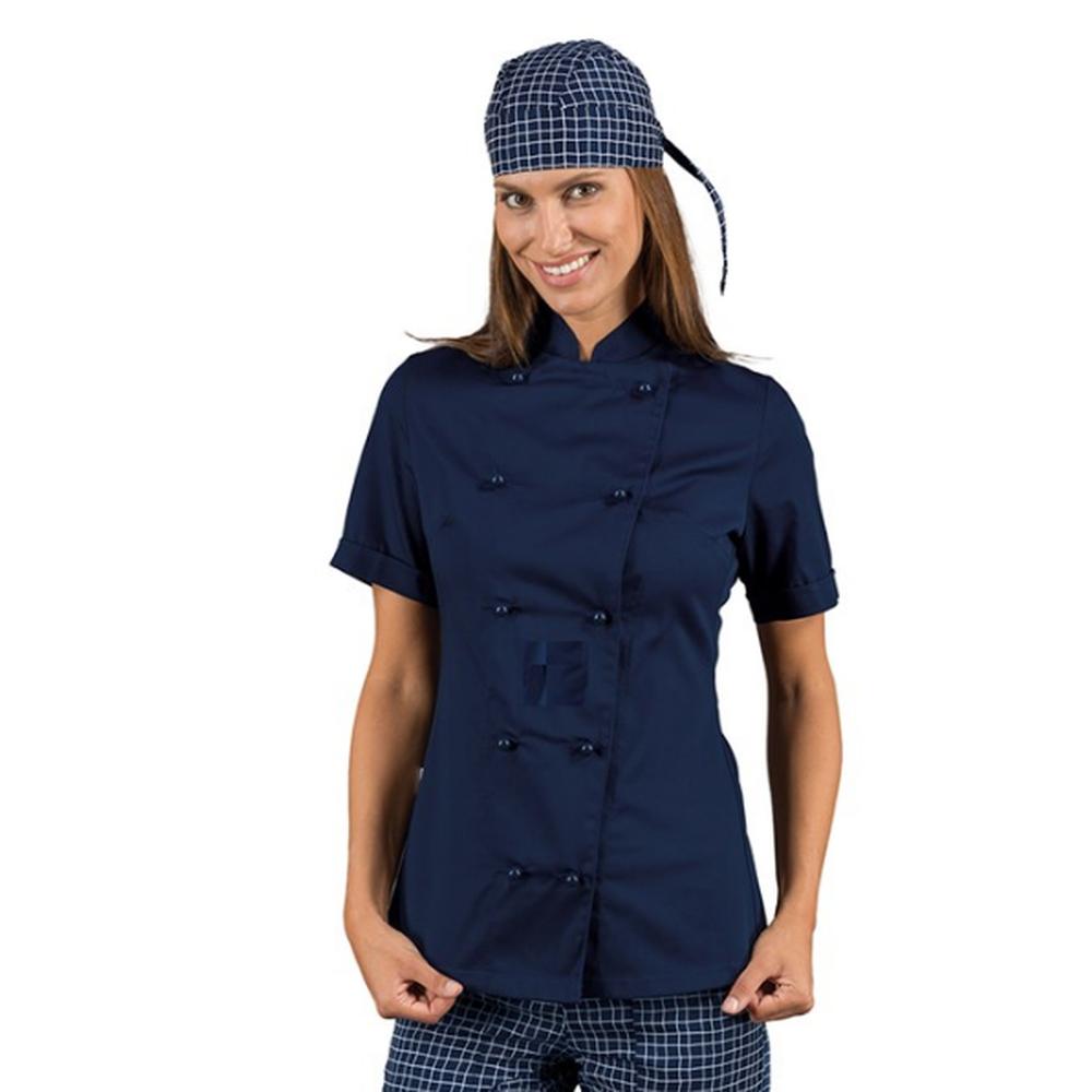 Veste de cuisine bleu marine femme manches courtes Isacco Lady Chef - Marine
