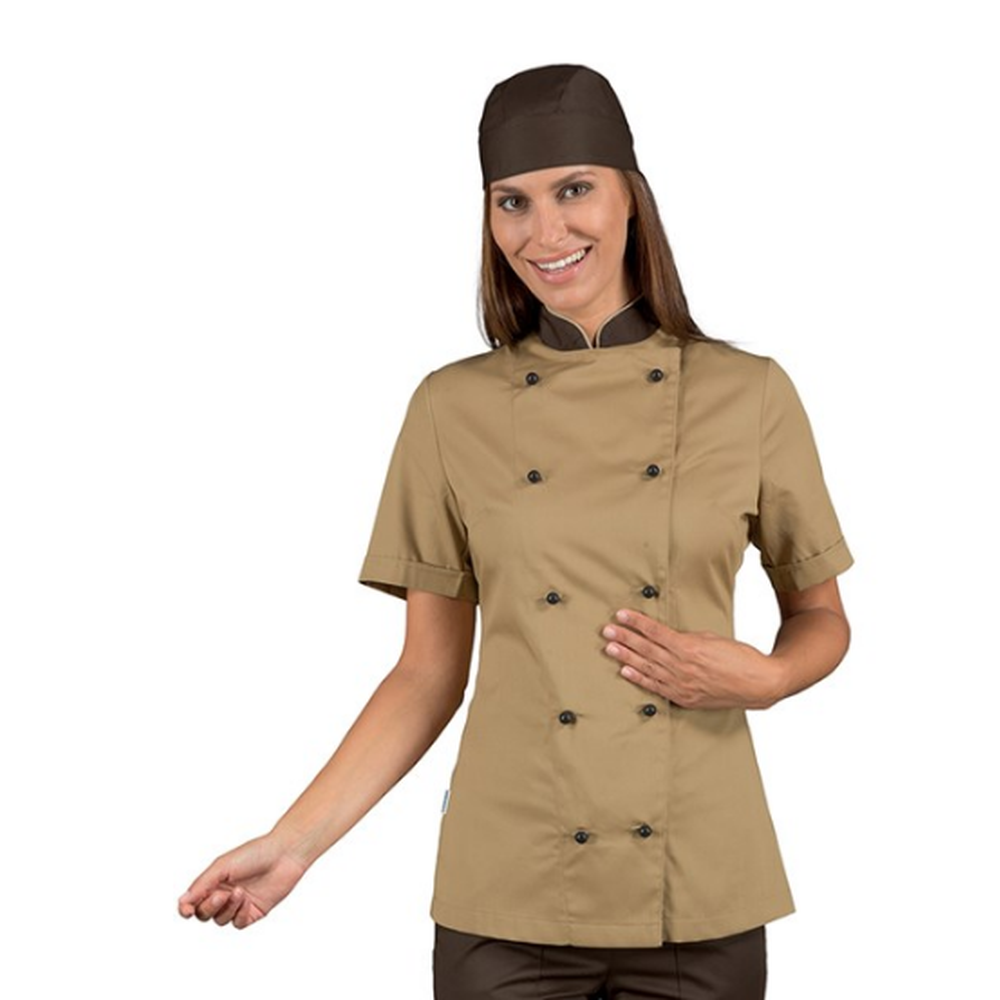 Veste de cuisine beige femme manches courtes Isacco Lady Royal - Marron