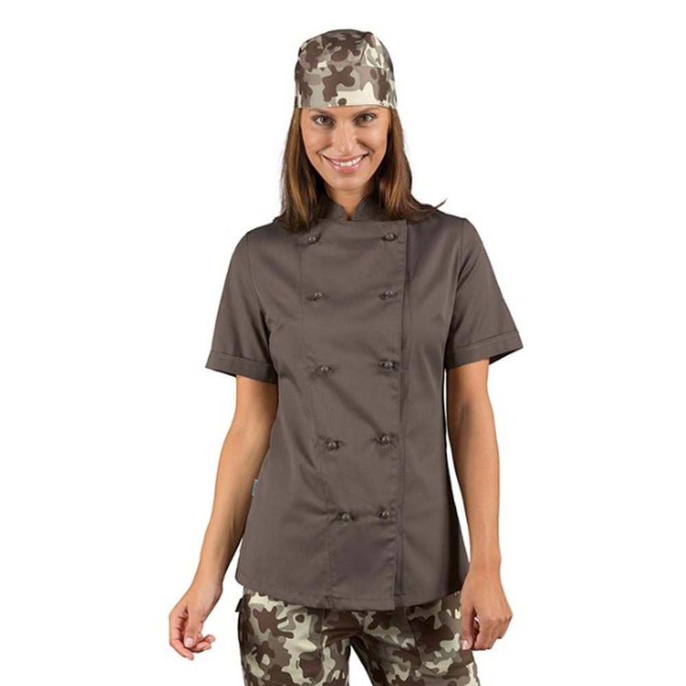 Veste de cuisine marron Fango femme manches courtes Isacco Lady Chef - Marron