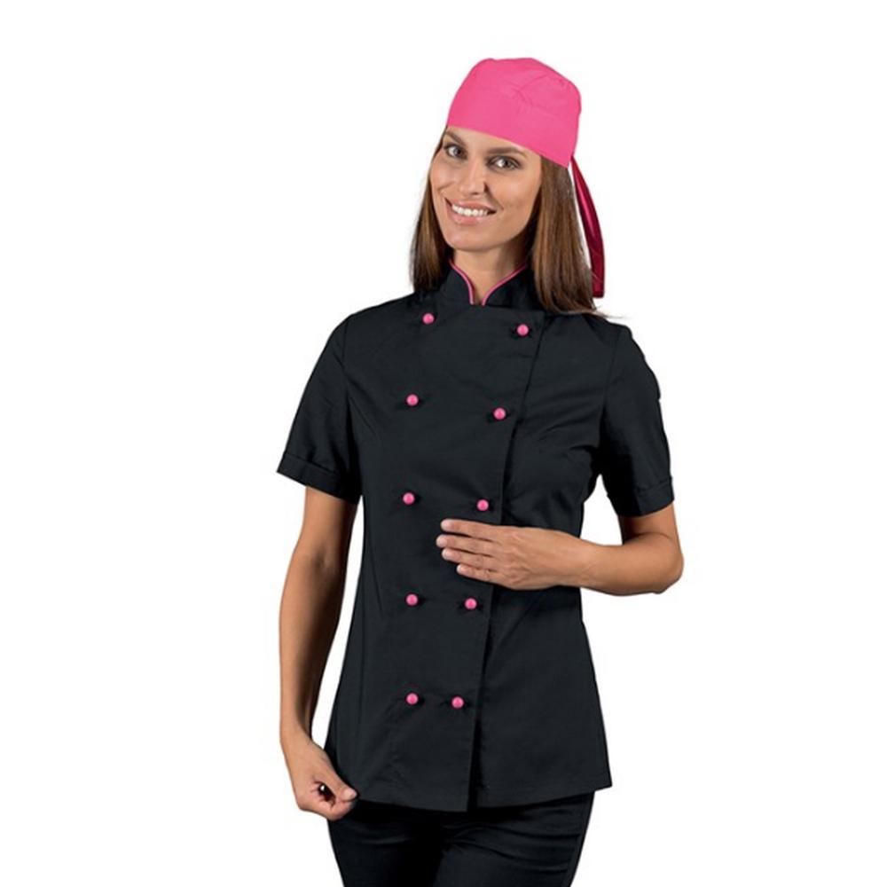 Veste de cuisine Ultra Légère femme manches courtes Isacco Noire motifs roses - Noir/rose