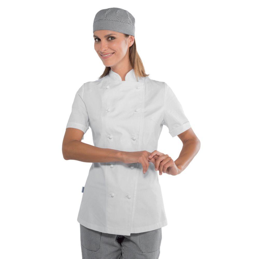 Veste de cuisine femme manches courtes Isacco Lady Chef blanche 100% coton - Blanc