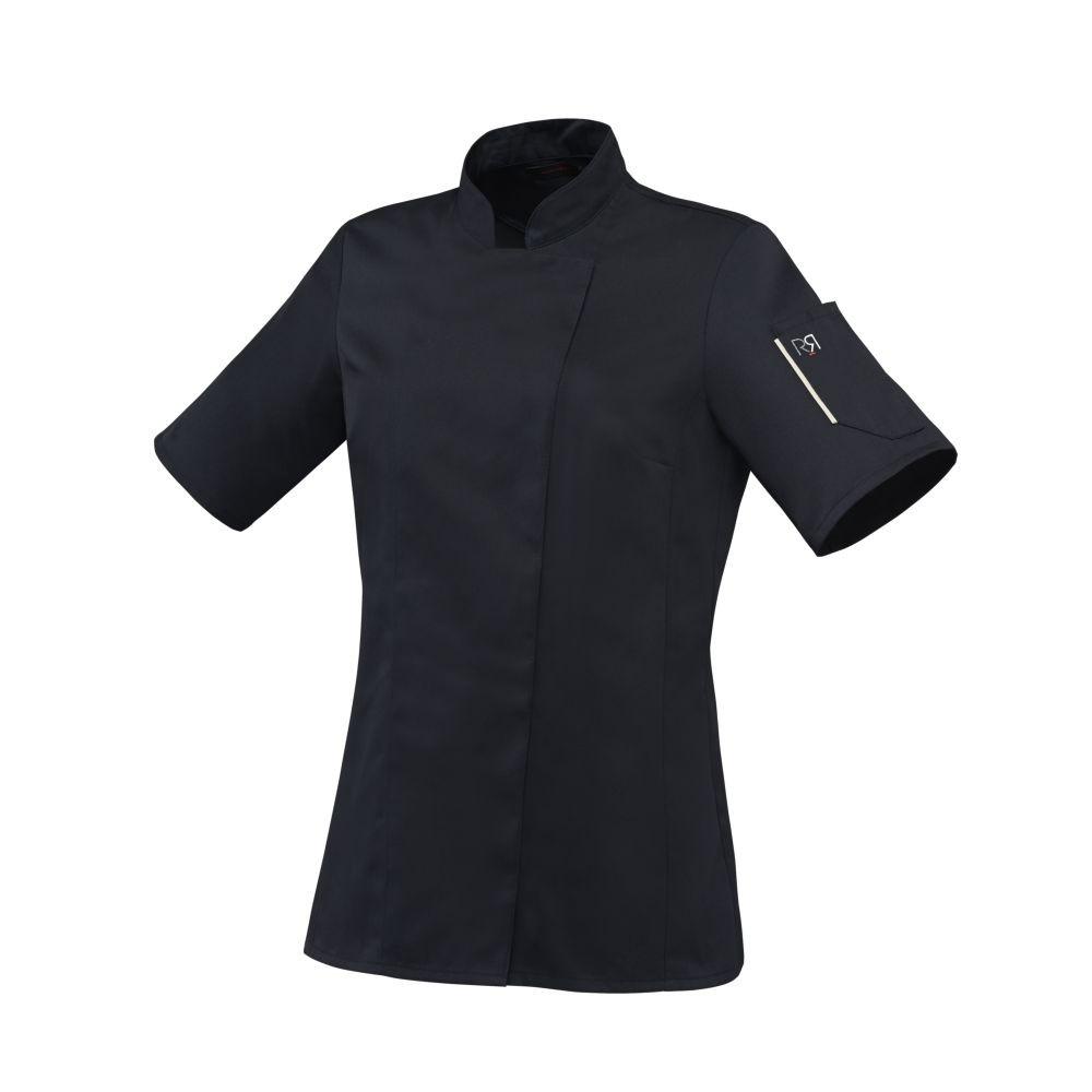 Veste de cuisine femme manches courtes Robur Unera polycoton - Noir
