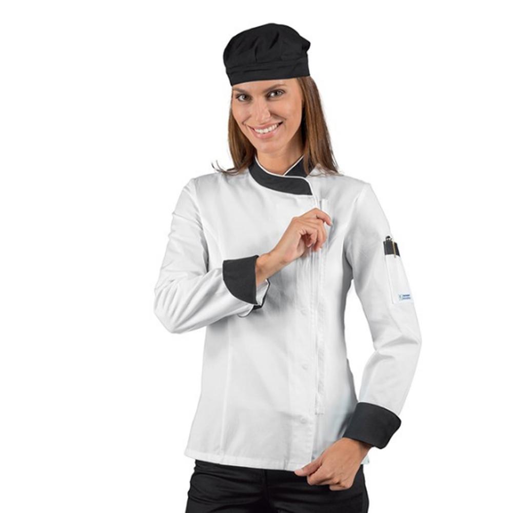 Veste de cuisine femme zippée manches longues Isacco blanche motifs noirs - Blanc/noir