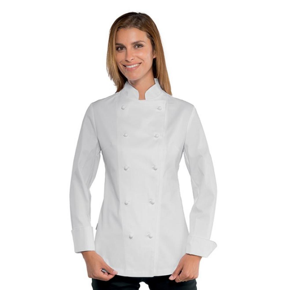 Veste de cuisine extra light super strech femme manches longues Isacco - Blanc