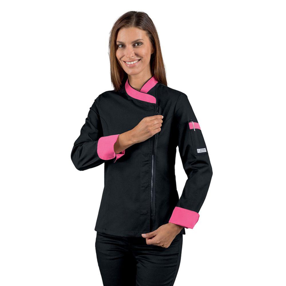 Veste de cuisine zippée femme manches longues Isacco noir motifs roses - Noir / Rose